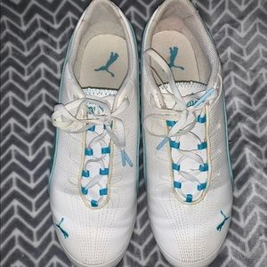 Blue and white puma tennis shoes size 10